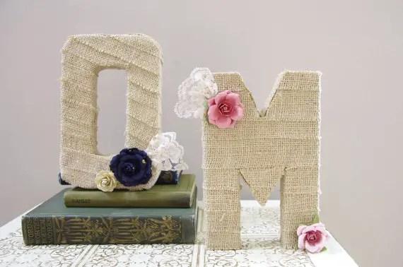 burlap wrapped letters