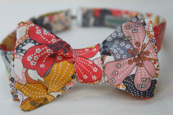 floral print wedding bow tie