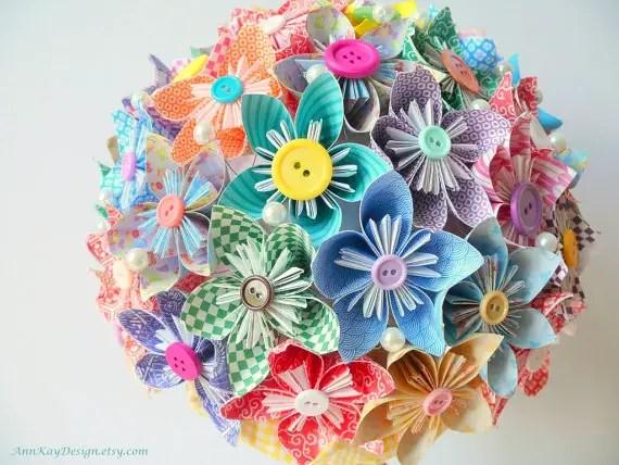 Origami Bridal Bouquet - Handmade Wedding
