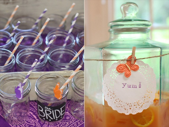 rustic bridal shower drinking glasses