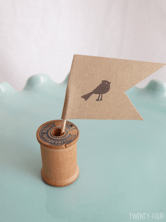 bird cupcake flags