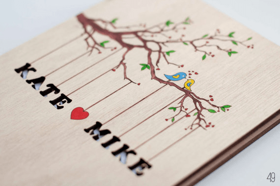 bird wedding guest book