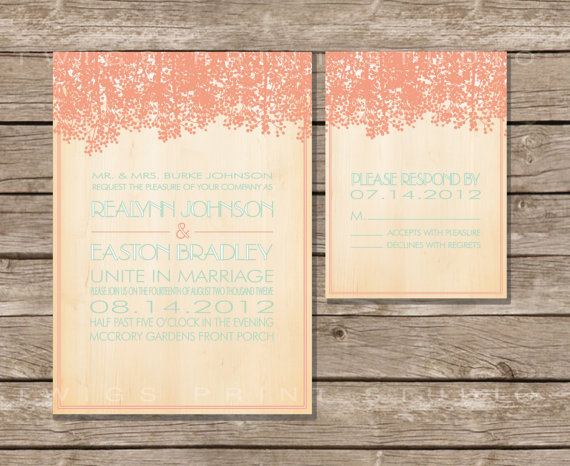 rustic wedding invitation in coral and blue