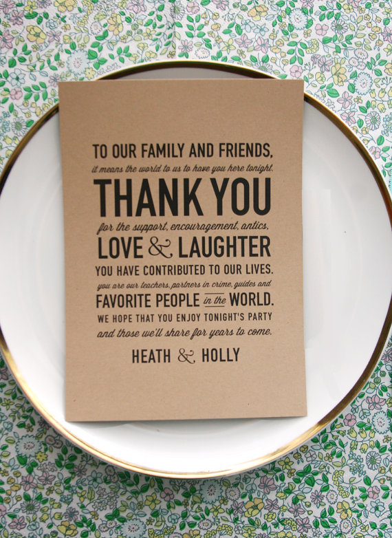 50 wedding acts of kindness - thank you card at each guest's seat