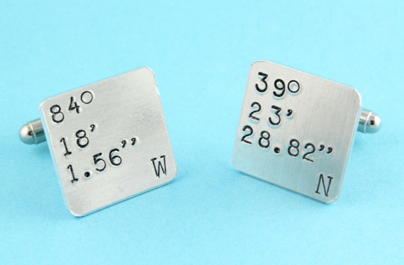 latitude longitude cuff links by stampinoffthepath