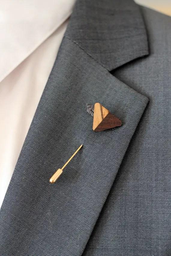 wood lapel pin boutonniere