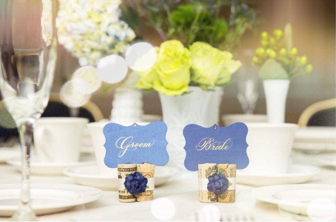 50 wine themed wedding ideas emmaline bride navy blue place card holders wine themed wedding junglespirit Image collections