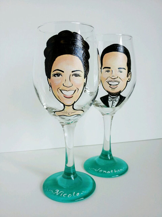personalized bride and groom wine glasses