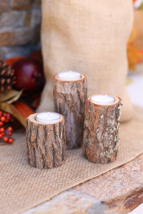 Wood candle holders by Bragging Bags | via Wood Themed Wedding Ideas: http://emmalinebride.com/themes/wood-themed-wedding-ideas/