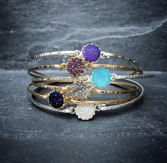 bridesmaid stacking bangles druzy