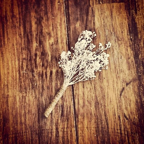 rustic baby's breath boutonniere by eagle cap creations