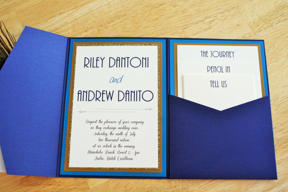 great gatsby blue peacock invitations