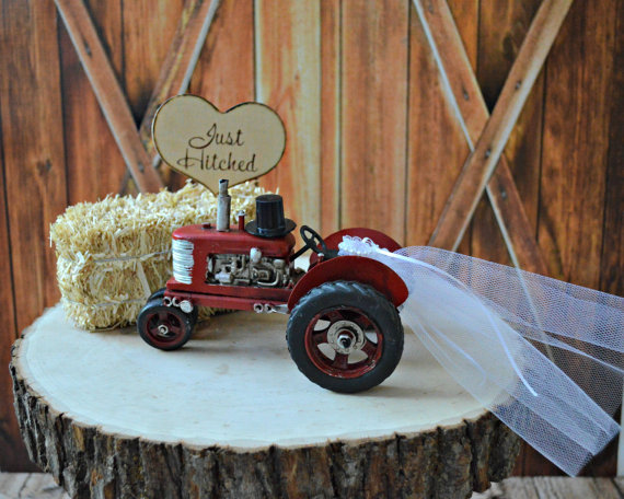 just hitched tractor cake topper by morgan the creator | barn reception ideas for weddings via http://emmalinebride.com/reception/barn-ideas-weddings/ 