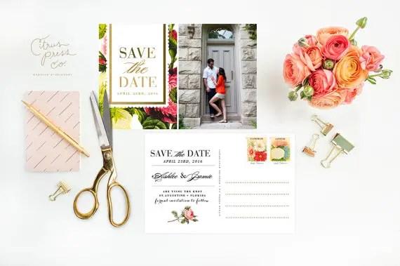 vintage floral save the date postcards