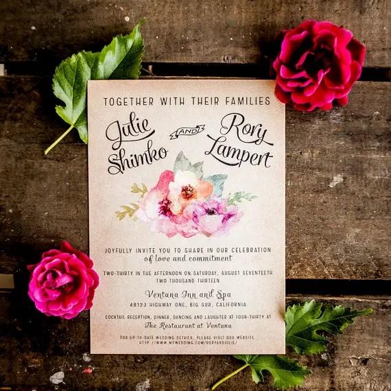floral pink boho wedding invitations