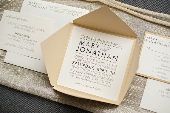 gold fancy wedding invitations by lamaworks