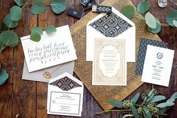 gold foil letterpress wedding invitations