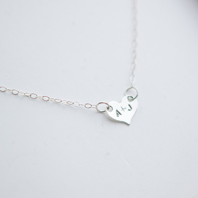 initials necklace   Bride Gift Box   by Deighan Design   http://emmalinebride.com/gifts/bridesmaid-gift-box/