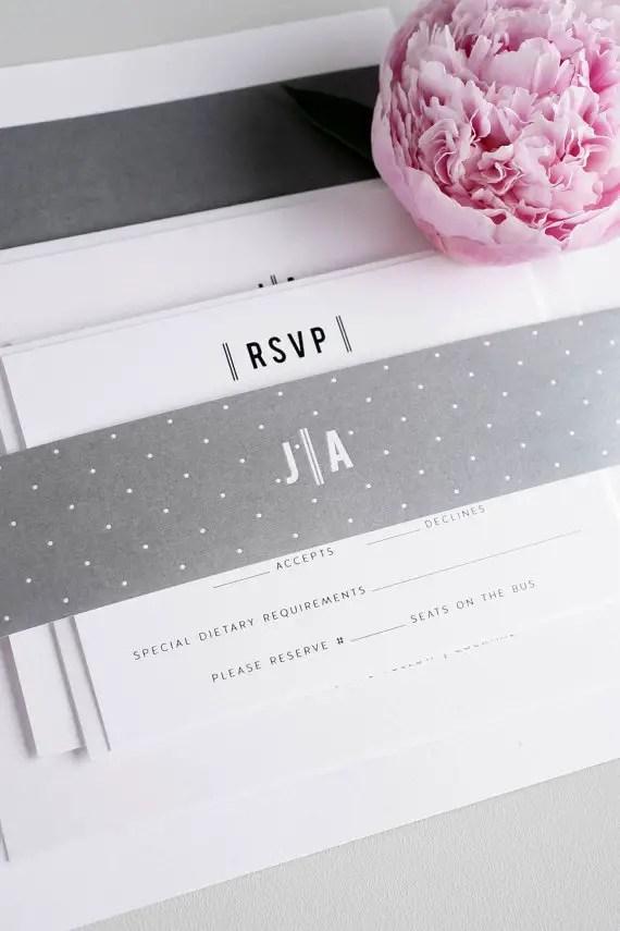polka dot wedding invitations grey white