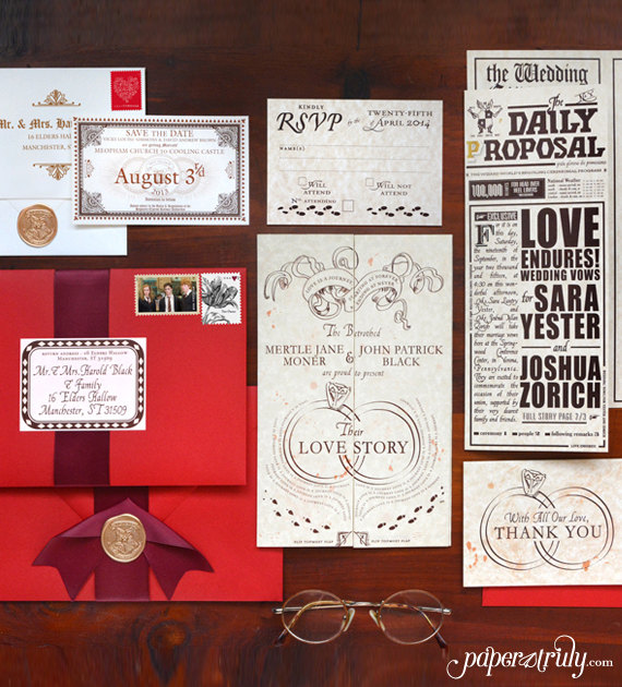 romance managed harry potter wedding invitations