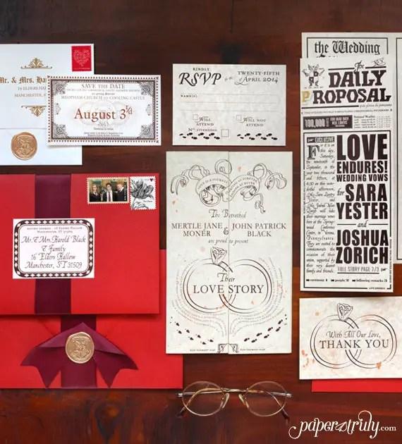 High Quality Romance Managed Harry Potter Wedding Invitations