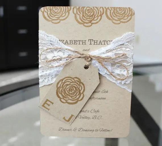 shabby chic wedding invitation by jgpapercrafts