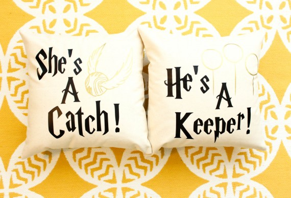 shes a catch hes a keeper pillows