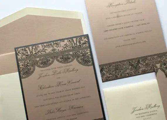 vintage lace wedding invitations