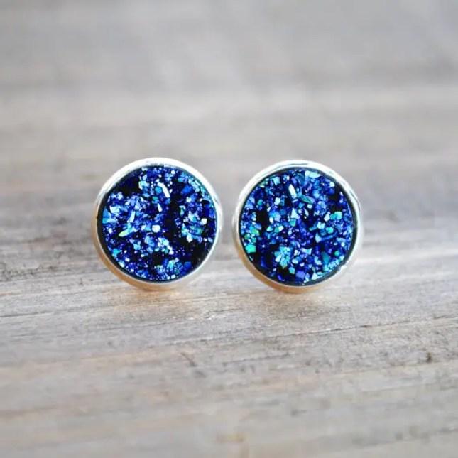 blue druzy earrings by laurenamosdesigns