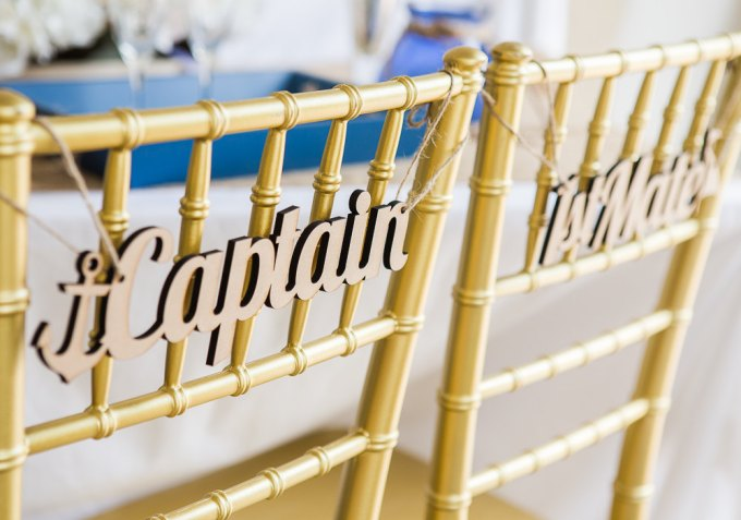 captain and mate | chair signs for bride and groom | by zcreate design | http://emmalinebride.com/reception/chair-signs-for-bride-and-groom/