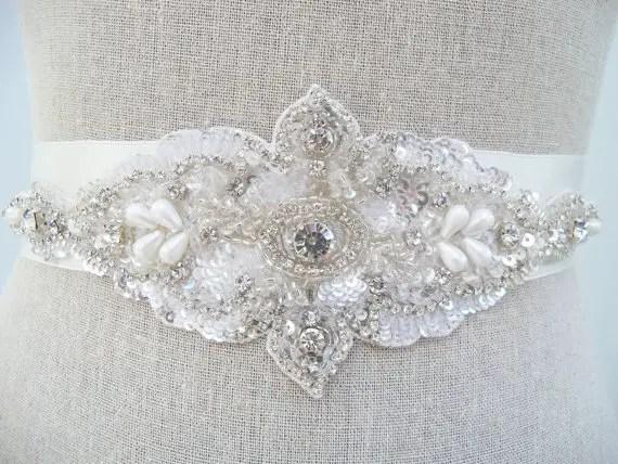 crystal rhinestone sash by SparkleSMBridal | via Should I Add a Sash to My Dress? on Emmaline Bride | http://emmalinebride.com/bride/should-i-add-sash-to-wedding-dress/