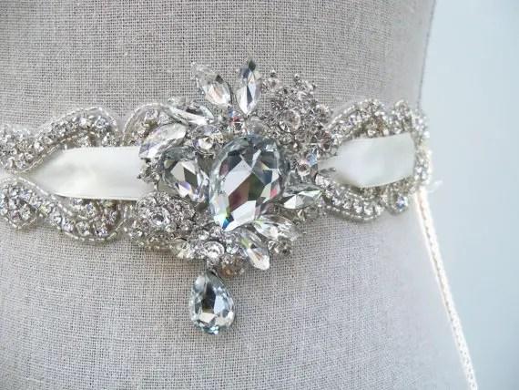 emilie crystal sash by SparkleSMBridal | via Should I Add a Sash to My Dress? on Emmaline Bride | http://emmalinebride.com/bride/should-i-add-sash-to-wedding-dress/