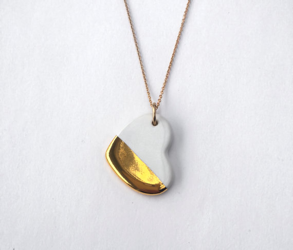 gold dipped heart necklace