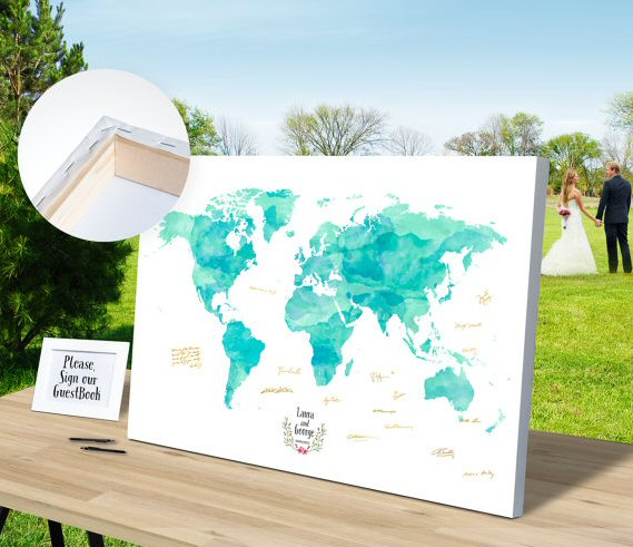 guest book watercolor map | travel themed wedding ideas: http://emmalinebride.com/themes/travel-theme-wedding-ideas/