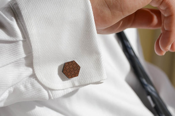 hexagon cuff links by birdofvirtue