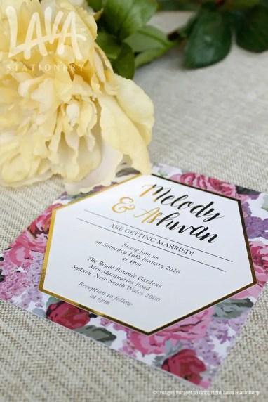 hexagon wedding invitations by lava stationery
