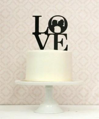 LOVE silhouette cake topper