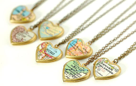 map lockets | travel themed wedding ideas: http://emmalinebride.com/themes/travel-theme-wedding-ideas/