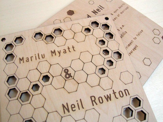 modern honeycomb hexagon wedding invitations large by AsymmetreeWedding