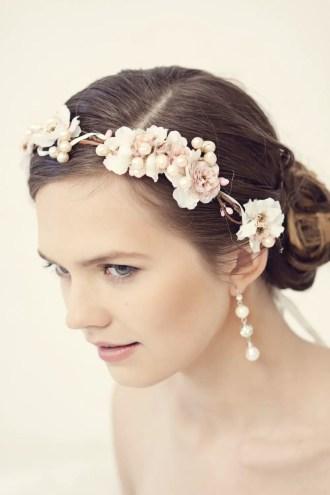 pink flower hair crown on bride