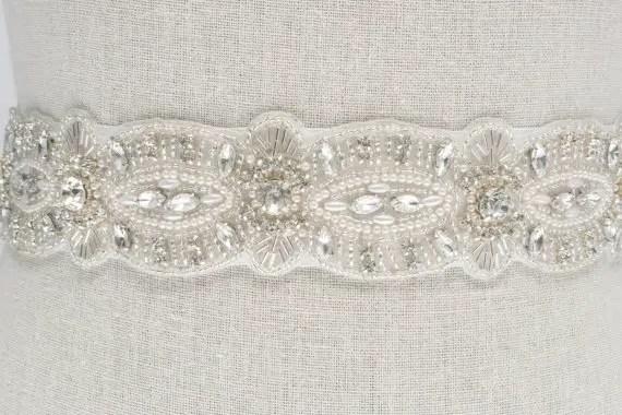 rhinestone and pearl sash by SparkleSMBridal | via Should I Add a Sash to My Dress? on Emmaline Bride | http://emmalinebride.com/bride/should-i-add-sash-to-wedding-dress/