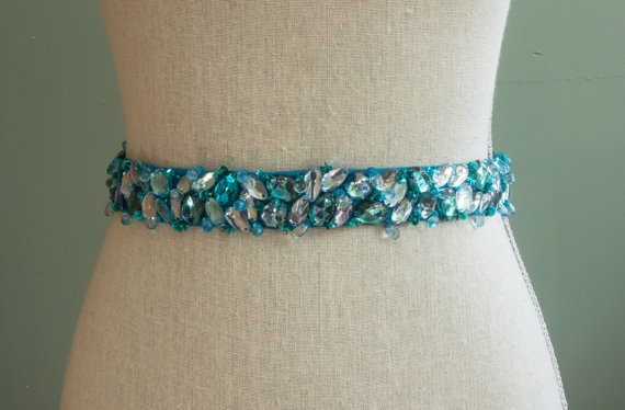 aqua blue sash by SparkleSMBridal | via Should I Add a Sash to My Dress? on Emmaline Bride | http://emmalinebride.com/bride/should-i-add-sash-to-wedding-dress/