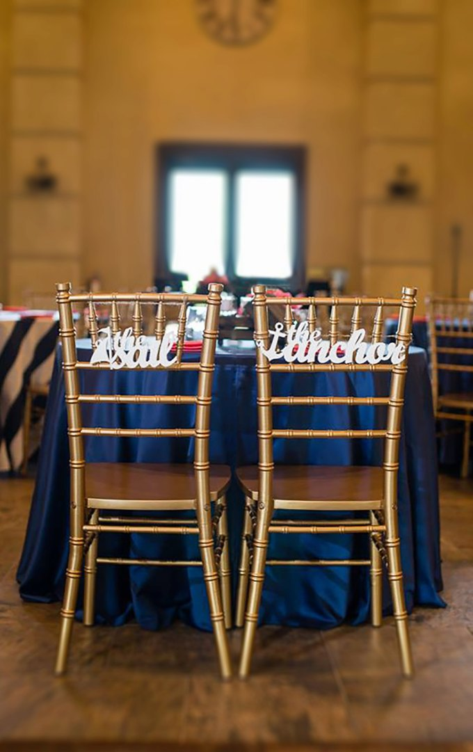 the sail the anchor | chair signs for bride and groom | by zcreate design | http://emmalinebride.com/reception/chair-signs-for-bride-and-groom/