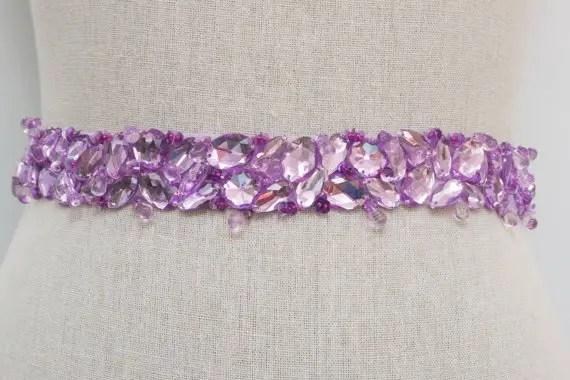 violet bridal sash by SparkleSMBridal | via Should I Add a Sash to My Dress? on Emmaline Bride | http://emmalinebride.com/bride/should-i-add-sash-to-wedding-dress/