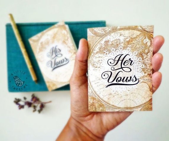 vow books by aLittleBirdTweetme | travel themed wedding ideas: http://emmalinebride.com/themes/travel-theme-wedding-ideas/