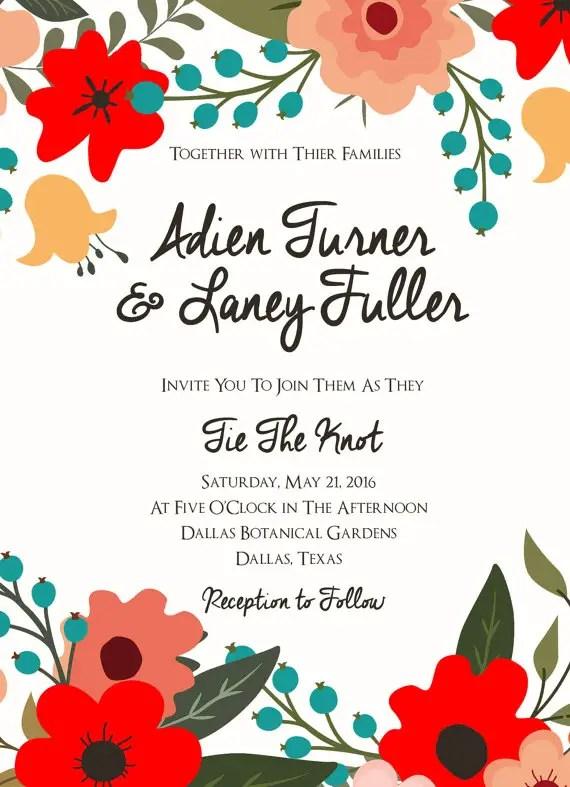 aqua floral wedding invitation suite 2