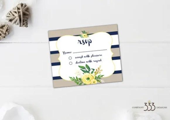 beige and navy stripe invitations - rsvp