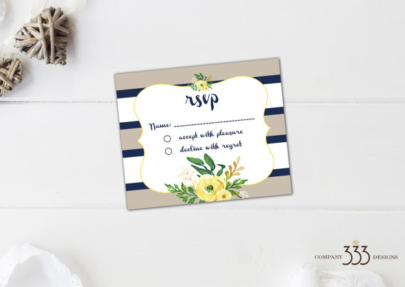 beige and navy stripe invitations - rsvp