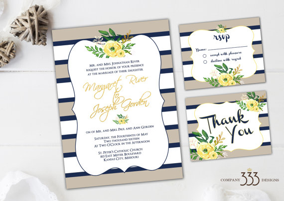beige and navy stripe invitations