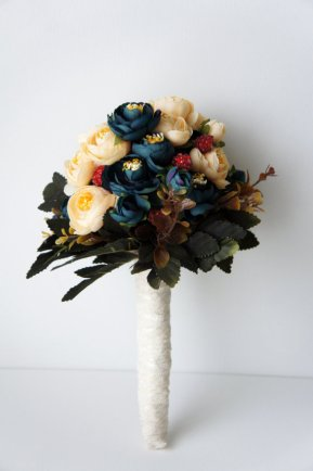 blue and champagne bridal bouquet - 1